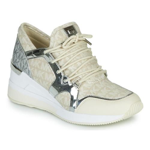 Παπούτσια Γυναίκα Χαμηλά Sneakers MICHAEL Michael Kors LIV TRAINER Beige / Argenté
