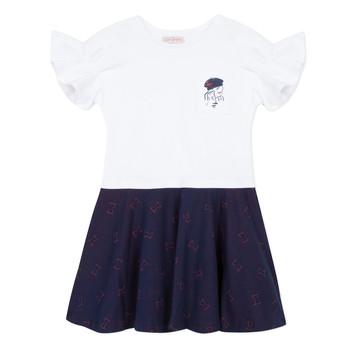 Υφασμάτινα Κορίτσι Κοντά Φορέματα Lili Gaufrette MENDI Άσπρο