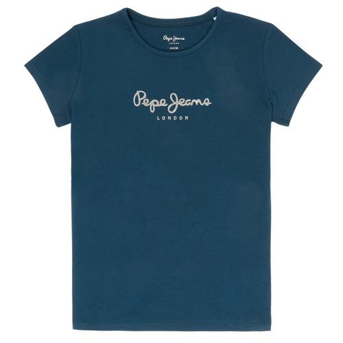 Υφασμάτινα Κορίτσι T-shirt με κοντά μανίκια Pepe jeans HANA GLITTER Marine