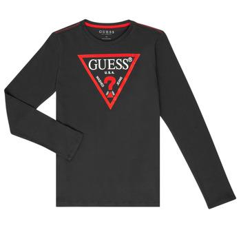 Υφασμάτινα Αγόρι Μπλουζάκια με μακριά μανίκια Guess HERVE Black