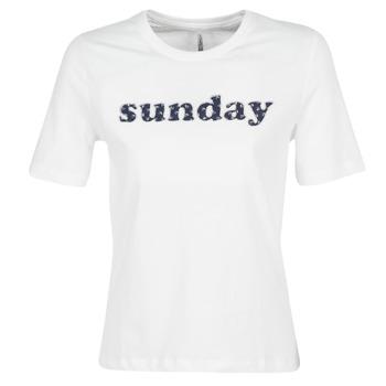 Υφασμάτινα Γυναίκα T-shirt με κοντά μανίκια Only ONLSANNE Άσπρο
