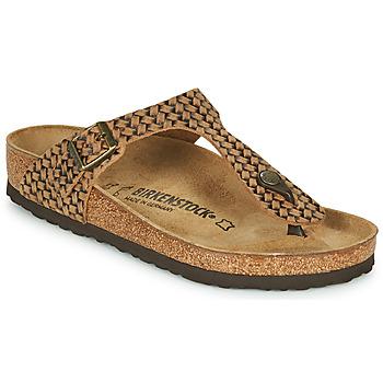 Παπούτσια Γυναίκα Σαγιονάρες Birkenstock GIZEH LEATHER Brown
