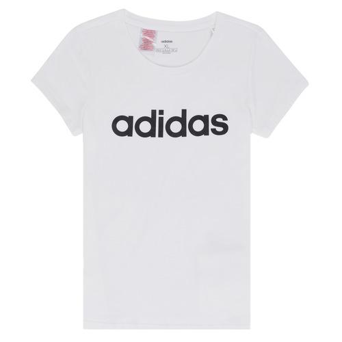 Υφασμάτινα Κορίτσι T-shirt με κοντά μανίκια adidas Performance NELIZO Άσπρο