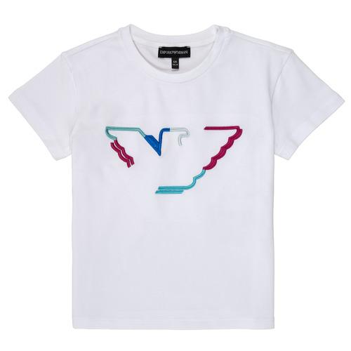 Υφασμάτινα Κορίτσι T-shirt με κοντά μανίκια Emporio Armani Amin Άσπρο