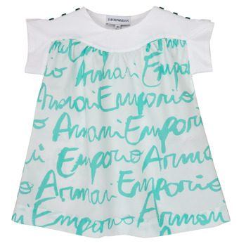 Υφασμάτινα Κορίτσι T-shirt με κοντά μανίκια Emporio Armani Anas Άσπρο / Μπλέ