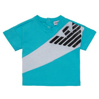 Υφασμάτινα Αγόρι T-shirt με κοντά μανίκια Emporio Armani Alois Μπλέ / Άσπρο