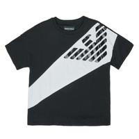 Υφασμάτινα Αγόρι T-shirt με κοντά μανίκια Emporio Armani Blaise Black / Άσπρο