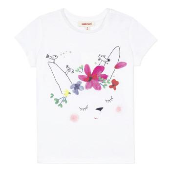 Υφασμάτινα Κορίτσι T-shirt με κοντά μανίκια Catimini MAE Άσπρο