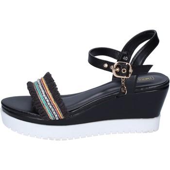 Παπούτσια Γυναίκα Σανδάλια / Πέδιλα Enrico Coveri sandali pelle sintetica tessuto Nero