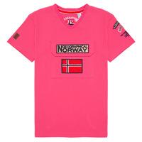 Υφασμάτινα Αγόρι T-shirt με κοντά μανίκια Geographical Norway JIRI Ροζ