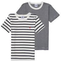 Υφασμάτινα Αγόρι T-shirt με κοντά μανίκια Petit Bateau 53333 Άσπρο / Μπλέ