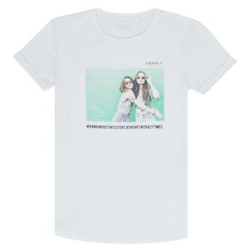 Υφασμάτινα Κορίτσι T-shirt με κοντά μανίκια Esprit ELISH Άσπρο
