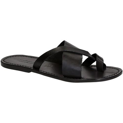 Παπούτσια Άνδρας Σαγιονάρες Gianluca - L'artigiano Del Cuoio 545 U NERO CUOIO nero