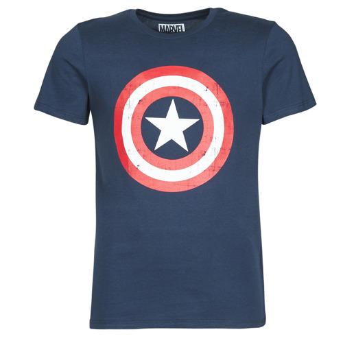 Υφασμάτινα Άνδρας T-shirt με κοντά μανίκια Yurban CAPTAIN AMERICA LOGO Marine