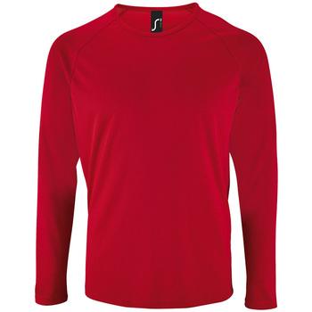 Υφασμάτινα Άνδρας Μπλουζάκια με μακριά μανίκια Sols SPORT LSL MEN Rojo