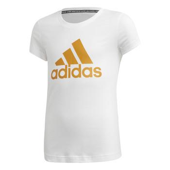 Υφασμάτινα Κορίτσι T-shirt με κοντά μανίκια adidas Performance YG MH BOS TEE Άσπρο