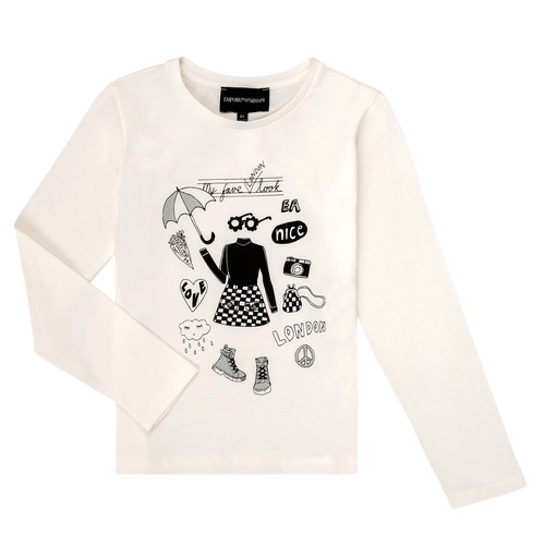 Υφασμάτινα Κορίτσι Μπλουζάκια με μακριά μανίκια Emporio Armani 6H3T01-3J2IZ-0101 Άσπρο