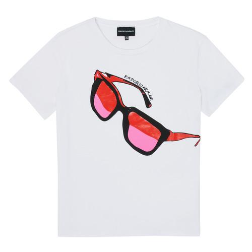 Υφασμάτινα Κορίτσι T-shirt με κοντά μανίκια Emporio Armani 6H3T7T-3J2IZ-0100 Άσπρο