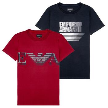 Υφασμάτινα Αγόρι T-shirt με κοντά μανίκια Emporio Armani 6H4D22-4J09Z-0353 Black / Red