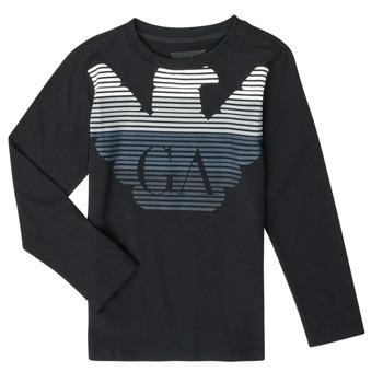 Υφασμάτινα Αγόρι Μπλουζάκια με μακριά μανίκια Emporio Armani 6H4T17-1J00Z-0999 Black