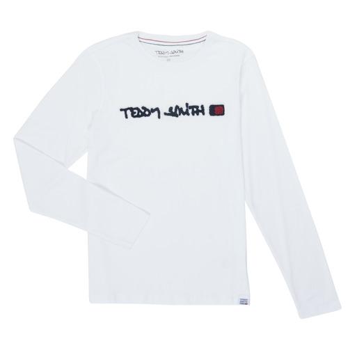 Υφασμάτινα Αγόρι Μπλουζάκια με μακριά μανίκια Teddy Smith CLAP Άσπρο