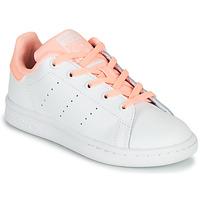 Παπούτσια Κορίτσι Χαμηλά Sneakers adidas Originals STAN SMITH C Άσπρο / Ροζ