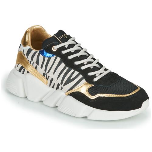 Παπούτσια Γυναίκα Χαμηλά Sneakers Serafini OREGON Black / Άσπρο / Gold