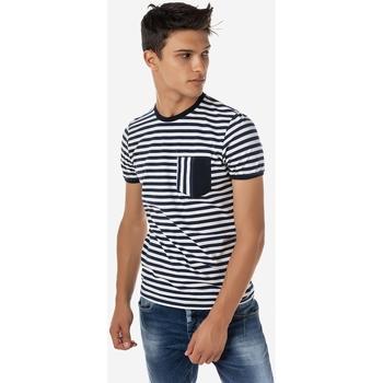 Υφασμάτινα Άνδρας T-shirt με κοντά μανίκια Brokers ΑΝΔΡΙΚΟ T-SHIRT ΜΕ ΡΙΓΕΣ MARINE MARINE
