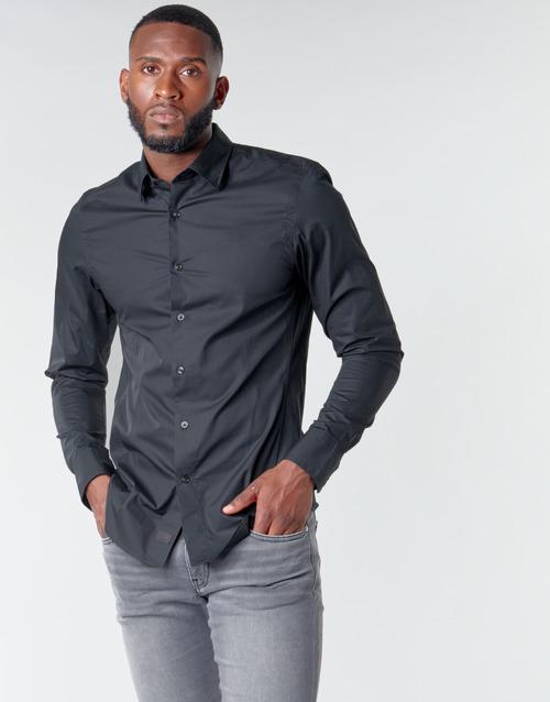 Υφασμάτινα Άνδρας Πουκάμισα με μακριά μανίκια G-Star Raw DRESSED SUPER SLIM SHIRT LS Black