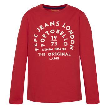 Υφασμάτινα Αγόρι Μπλουζάκια με μακριά μανίκια Pepe jeans ANTONI Red