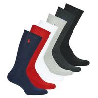 Αξεσουάρ Άνδρας Κάλτσες Polo Ralph Lauren ASX110 6 PACK COTTON Black / Red / Marine / Grey / Grey / Άσπρο