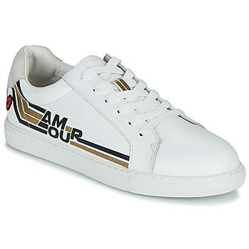 Παπούτσια Γυναίκα Χαμηλά Sneakers Bons baisers de Paname SIMONE AMOUR RETRO Άσπρο / Gold