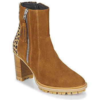 Παπούτσια Γυναίκα Μποτίνια Philippe Morvan LOKS V1 VELOURS CAMEL/LEOP Brown / Leopard