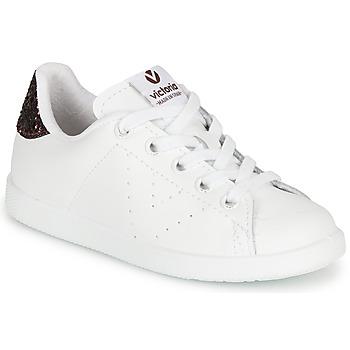 Παπούτσια Κορίτσι Χαμηλά Sneakers Victoria TENIS PIEL Άσπρο / Bordeaux