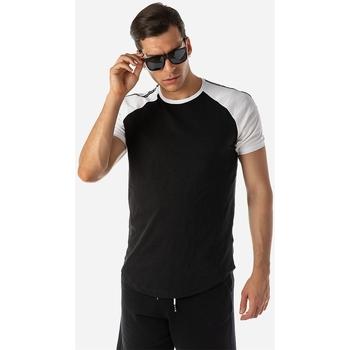 Υφασμάτινα Άνδρας T-shirt με κοντά μανίκια Brokers ΑΝΔΡΙΚΟ T-SHIRT ΜΑΥΡΟ CURVED Μαύρο