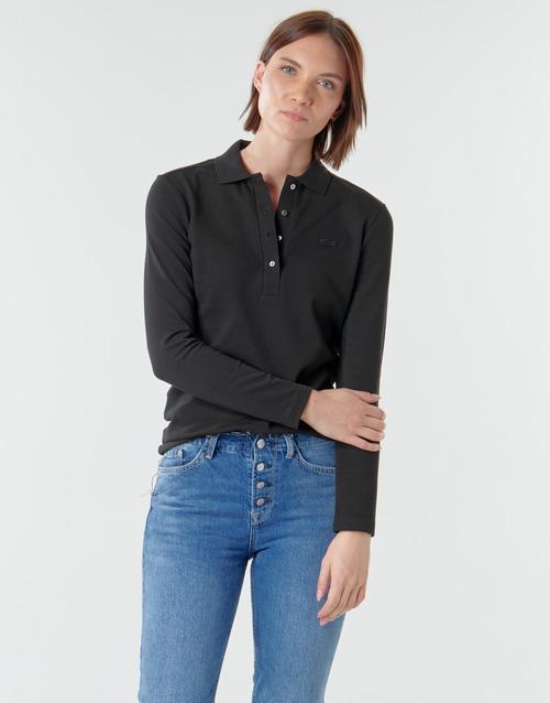 Υφασμάτινα Γυναίκα Πόλο με μακριά μανίκια  Lacoste PF5464 Black
