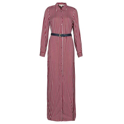 Υφασμάτινα Γυναίκα Μακριά Φορέματα MICHAEL Michael Kors WARM PLAYFL SHIRT DR Bordeaux / Άσπρο / Marine