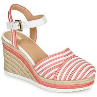 Παπούτσια Γυναίκα Χαμηλά Sneakers Geox D PONZA Red / Άσπρο