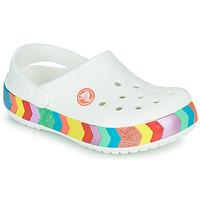 Παπούτσια Κορίτσι Σαμπό Crocs CROCBAND CHEVRON BEADED CLOG K Άσπρο / Multicolore