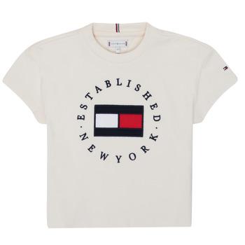 Υφασμάτινα Κορίτσι T-shirt με κοντά μανίκια Tommy Hilfiger KG0KG05503-Z00-J Beige