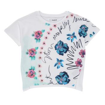 Υφασμάτινα Κορίτσι T-shirt με κοντά μανίκια Desigual 21SGTK02-1000 Άσπρο