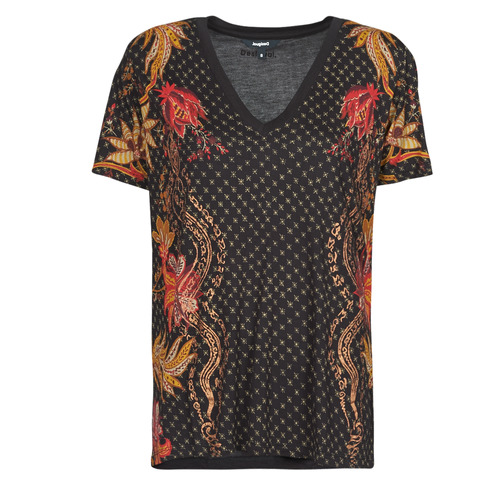 Υφασμάτινα Γυναίκα T-shirt με κοντά μανίκια Desigual PRAGA Black