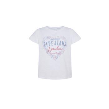 Υφασμάτινα Κορίτσι T-shirt με κοντά μανίκια Pepe jeans PIPER Άσπρο