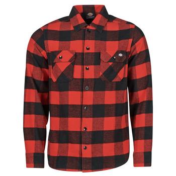 Υφασμάτινα Άνδρας Πουκάμισα με μακριά μανίκια Dickies NEW SACRAMENTO SHIRT RED Red / Black