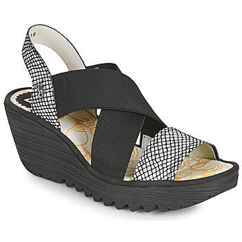 Παπούτσια Γυναίκα Σανδάλια / Πέδιλα Fly London YAJI Black / Άσπρο
