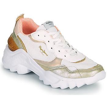 Παπούτσια Γυναίκα Χαμηλά Sneakers Pepe jeans ECCLES TOP Άσπρο / Gold
