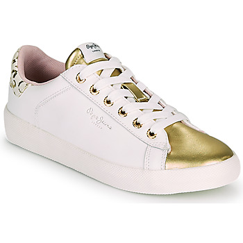 Παπούτσια Γυναίκα Χαμηλά Sneakers Pepe jeans KIOTO FIRE Άσπρο / Gold