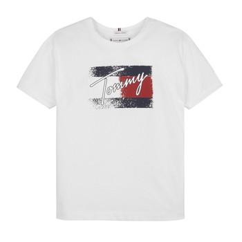 Υφασμάτινα Κορίτσι T-shirt με κοντά μανίκια Tommy Hilfiger MONCHE Άσπρο