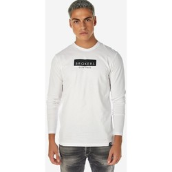 Υφασμάτινα Άνδρας Μπλουζάκια με μακριά μανίκια Brokers ΑΝΔΡΙΚΟ T-SHIRT Λευκό