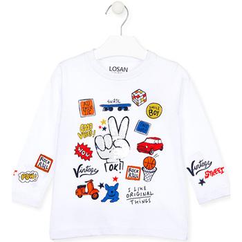 Υφασμάτινα Παιδί Μπλουζάκια με μακριά μανίκια Losan 025-1026AL λευκό